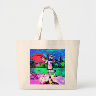 Comic Style Superhero Robot from Outer Space! Large Tote Bag