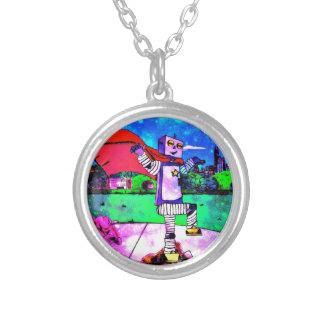 Comic Style Superhero Robot from Outer Space! Round Pendant Necklace
