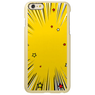 Comic Style Yellow Sunburst with Red Stars iPhone 6 Plus Case