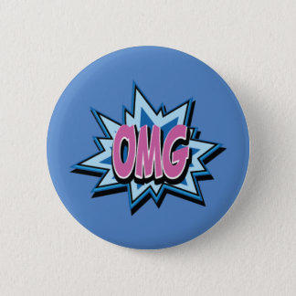 """Comic Text """"OMG"""" Button Badge"""