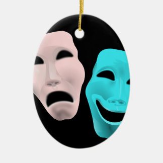 Comic Theatre Masks Ceramic Oval Decoration