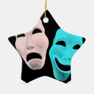 Comic Theatre Masks Ceramic Star Decoration