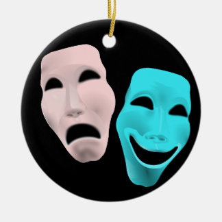 Comic Theatre Masks Round Ceramic Decoration