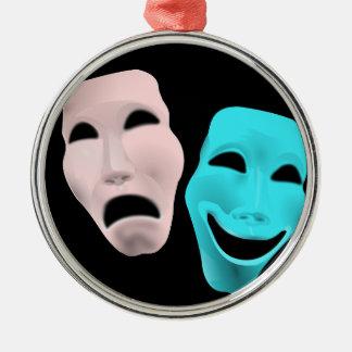 Comic Theatre Masks Silver-Colored Round Decoration