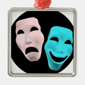 Comic Theatre Masks Silver-Colored Square Decoration