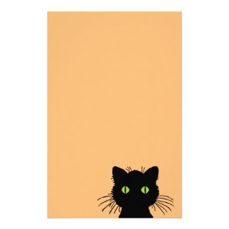 Comical and Curious Green-Eyed Black Cat Stationery
