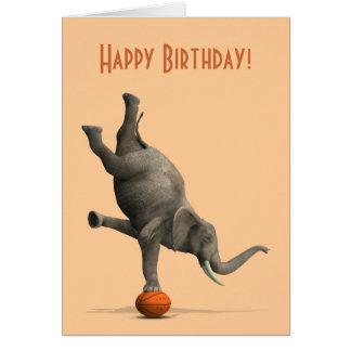 Comical Artistic Elephant On Basketball Card
