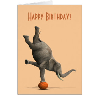Comical Artistic Elephant On Basketball Greeting Card