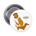 Comical Collie and Dachshund Pinback Button