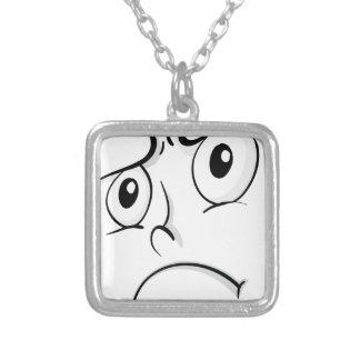 Comical face square pendant necklace