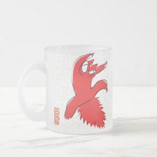 Comical funny quarrel cat Asian illustration Frosted Glass Mug