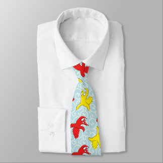 Comical funny quarrel cat Asian illustration Tie