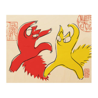 Comical funny quarrel cat Asian illustration Wood Canvases