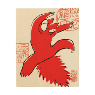 Comical funny quarrel cat Asian illustration Wood Prints