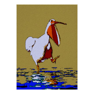 Comical Marching Pelican Louisiana Poster