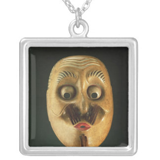 Comical Mask, Noh Theatre Silver Plated Necklace