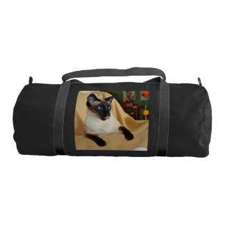 Comical Seal Point Siamese Cat Licking It's Nose Gym Duffel Bag