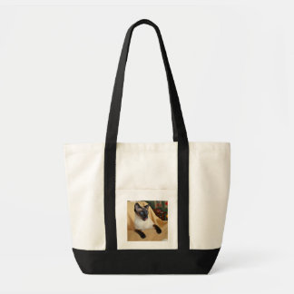 Comical Seal Point Siamese Cat Licking It's Nose Impulse Tote Bag