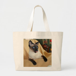 Comical Seal Point Siamese Cat Licking It's Nose Jumbo Tote Bag