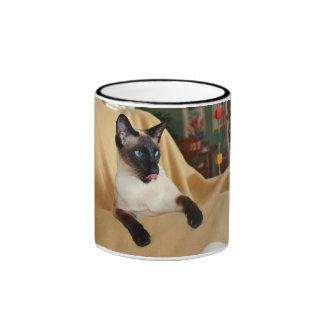 Comical Seal Point Siamese Cat Licking It's Nose Ringer Mug