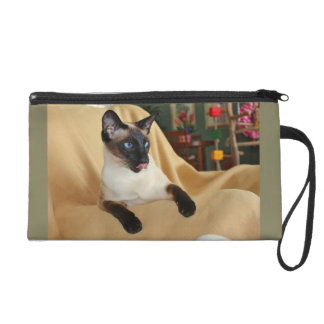 Comical Seal Point Siamese Cat Licking It's Nose Wristlet Clutches