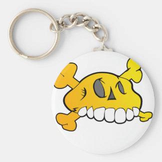 Comical Skull Basic Round Button Key Ring