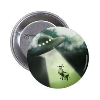 Comical UFO Cow Abduction Button