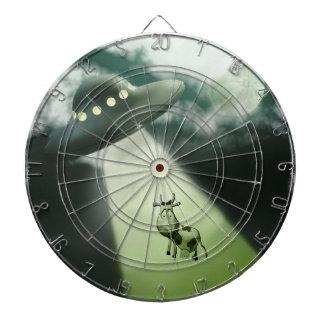 Comical UFO Cow Abduction Dartboard