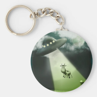Comical UFO Cow Abduction Keychain