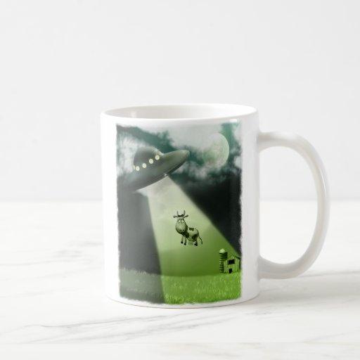 Comical UFO Cow Abduction Mug