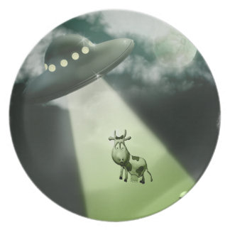 Comical UFO Cow Abduction Plate