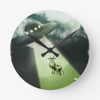 Comical UFO Cow Abduction Wall Clock