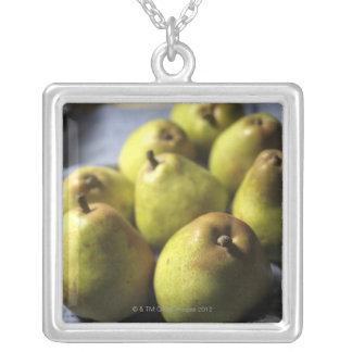 Comice Pears Square Pendant Necklace