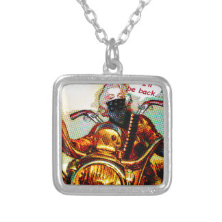 comics biker big silver plated necklace