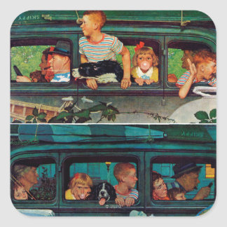 Coming and Going by Norman Rockwell Square Sticker