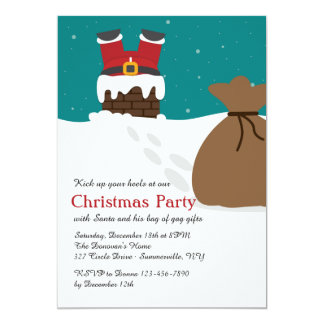 Coming Down the Chimney Christmas Party Invitation