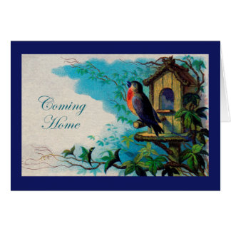 Coming Home Card, Vintage Robin with Birdhouse Greeting Card