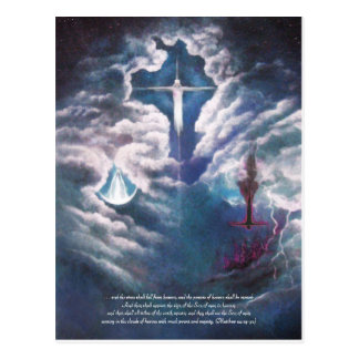 Coming on the Clouds of Heaven, with Poem on back Post Card