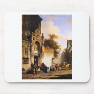 Coming out of church by Cornelis Springer Mouse Pad