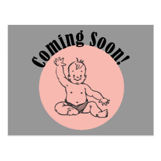 Coming Soon Baby in Pink Postcard