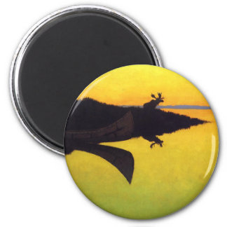 Coming to the Call by Frederic Remington 6 Cm Round Magnet