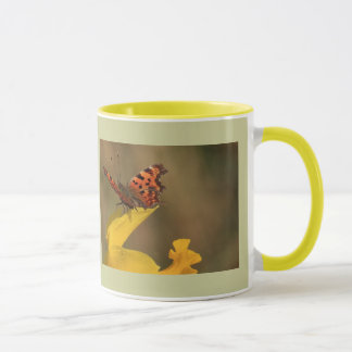 Comma Butterfly and Daffodil Mug