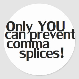 'Comma Splices' Whte Sticker