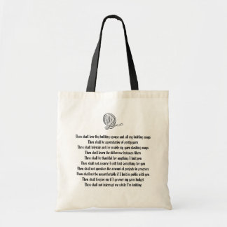 Commandments for the Knitter's Spouse Tote Bag