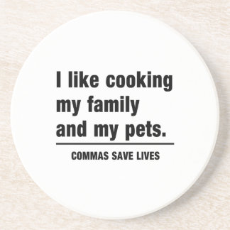 Commas Save Lives Drink Coaster