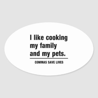 Commas Save Lives Oval Sticker
