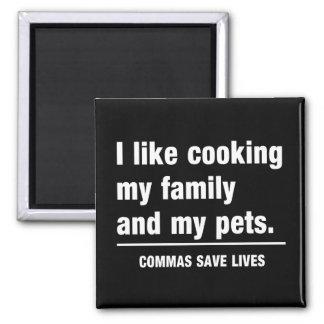 Commas Save Lives Square Magnet