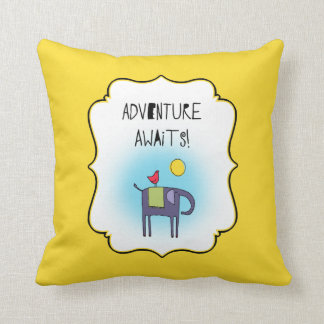 Commemorative Adventure Awaits Whimsical Elephant Throw Pillow