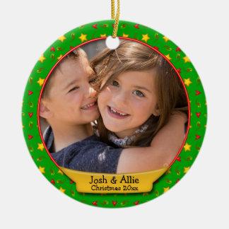 Commemorative Christmas Memories • Hearts & Stars Round Ceramic Decoration