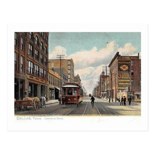Commerce St., Dallas, Texas 1905 Vintage Postcard